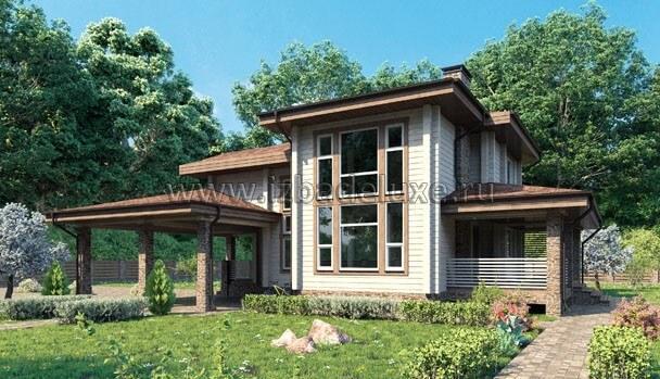 Проект дома из клееного бруса «Золотая долина».