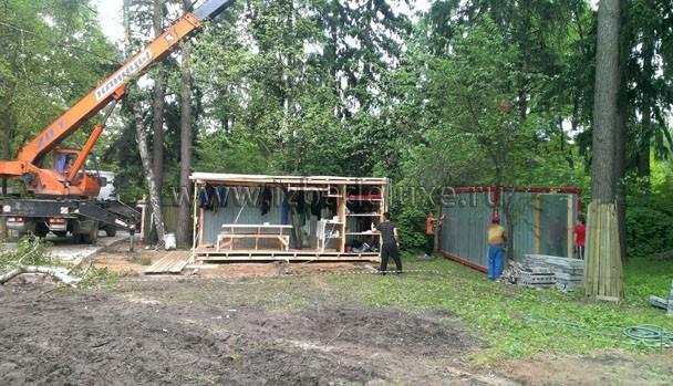 Бытовой городок - 2 бытовки, навес под складирование.