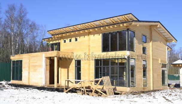 Строительство дома из клееного бруса на объекте «Жедочи».