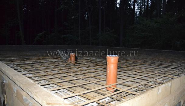 Верхняя плита и закладные под прокладку сетей.