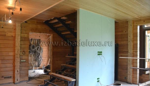 Стены из каркаса - предусмотрены дизайном помещения.