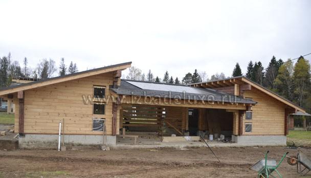 Строительство гаража с навесом из клееного бруса на объекте Чубарово.