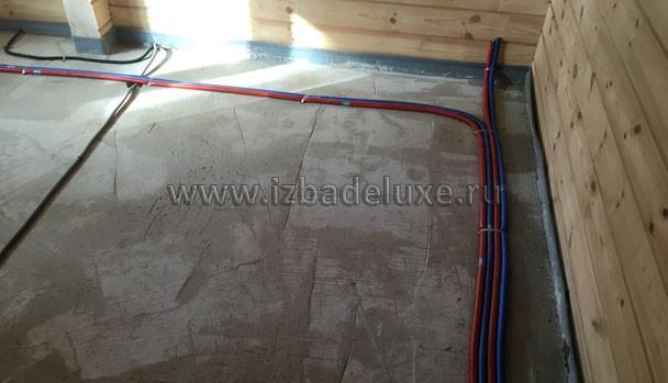 Укладка труб отопления и водоснабжения.