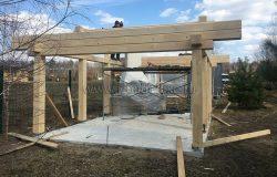 Столбы, обвяз, специальный металл креплений сделан под этот проект.