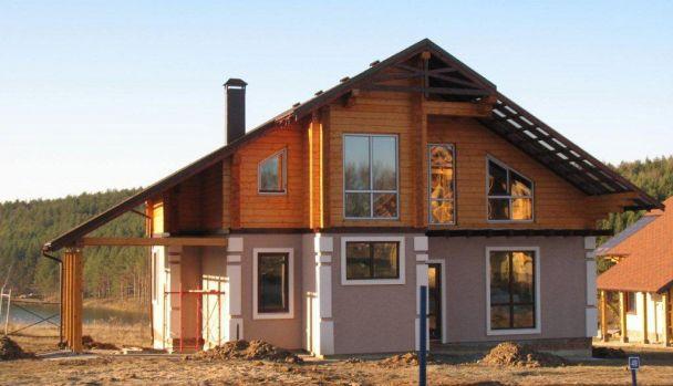 Дом из клееного бруса комбинированный, коттеджный поселок