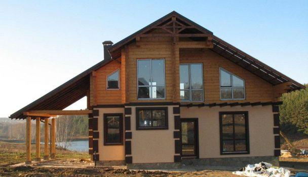 Комбинированный дом из клееного бруса, Симферопольское шоссе.