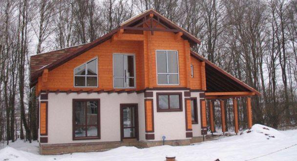 Комбинированный дом из клееного бруса в Голицыно