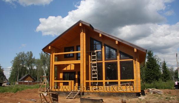 Строительство дома из клееного бруса по проекту Зимняя сказка-5