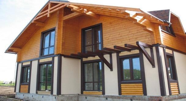 Комбинированный дом из клееного бруса, Можайский район
