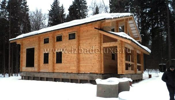 Строительство загородного дома из клееного бруса на объекте Абрамцево.