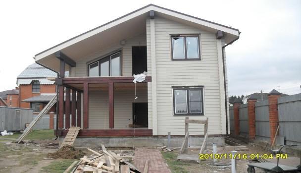 Строительство дома из клееного бруса по проекту Благовещенка, 210 кв.м.
