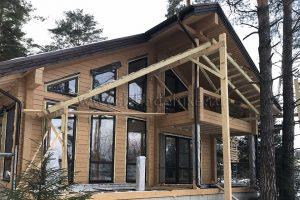 строительство дома из клееного бруса по проекту Зимняя сказка-16