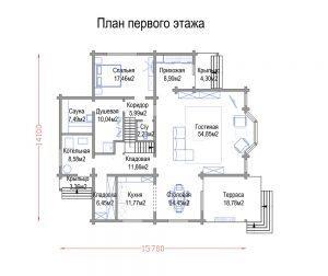 План первого этажа дома из клееного бруса Спортвилль