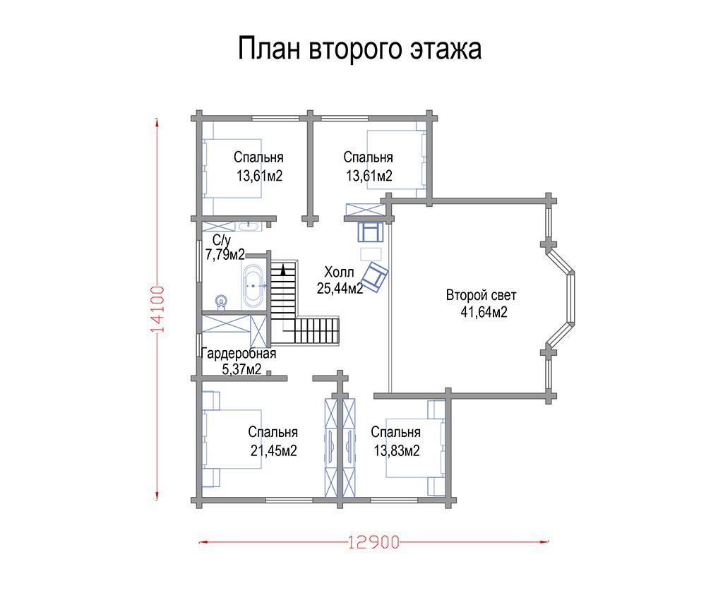 План второго этажа дома из клееного бруса Спортвилль