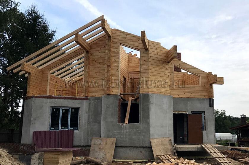 Строительство дома из клееного бруса на объекте Александровка.