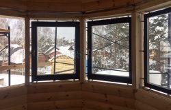 Окна - деревянное евроокно. Клееный брус. Сосна.