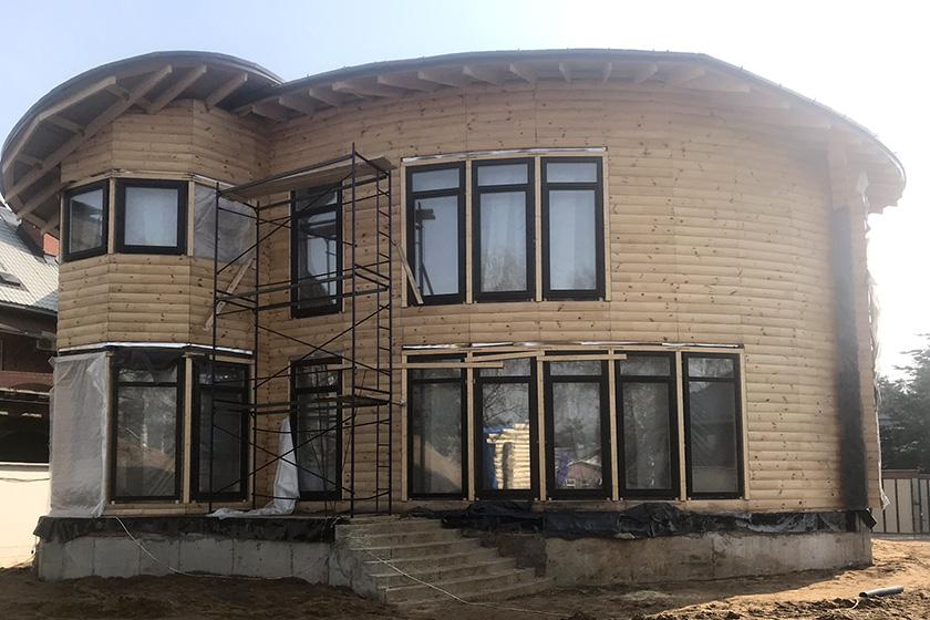 Строительство дома из клееного бревна на объекте «Видная усадьба НА ДОНу»