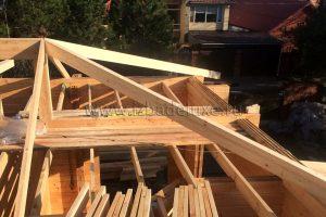 Монтаж стропильной системы дома из комбинированного клееного бруса «Абинск».