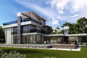 Проект загородного дома из клееного бруса «ОзерВейн». Жилая площадь дома— 288,47 кв.м.