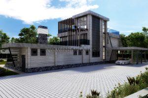 Проект загородного дома «ОзерВейн». Жилая площадь дома— 288,47 кв.м.