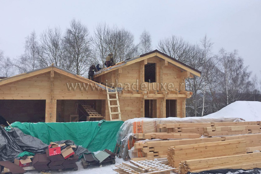 Строительство дома персонала с гаражом и мансардой на объекте «Заокские просторы».