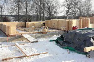 Строительство дома персонала с гаражом и мансардой из клееного бруса. Площадь 158 кв.м.