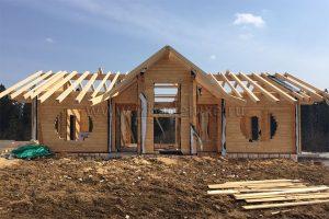 строительство дома из клееного бруса на объекте Клубный