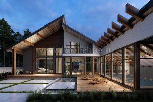 """На сайт добавлен новый проект комбинированного дома из клееного бруса и камня """"Камчатка""""."""