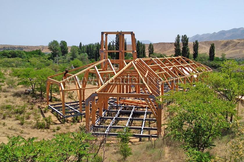 Строительство Визит-Центра из деревянных клееных конструкций.