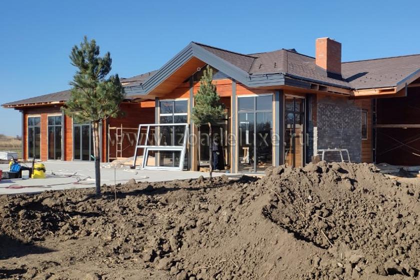 Строительство одноэтажного дома из клееного бруса «Усадьба Динская».