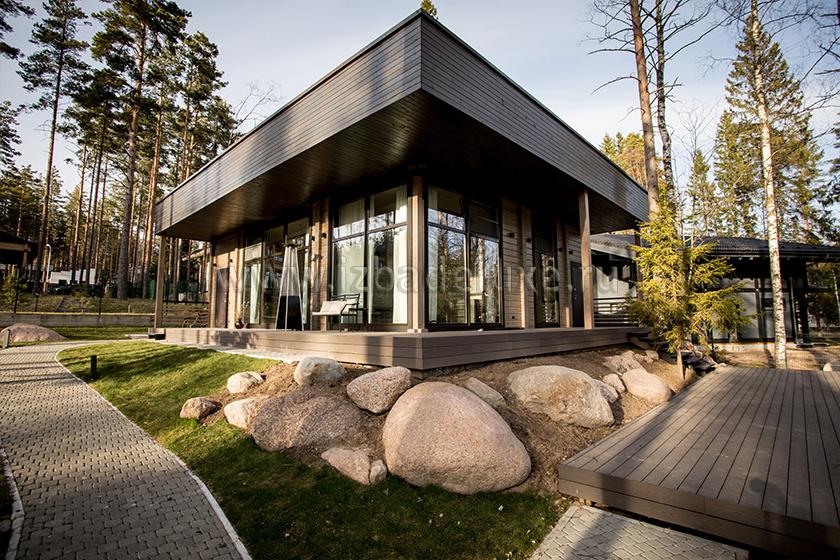 Строительство одноэтажного гостевого дома из клееного бруса «PULSAR».